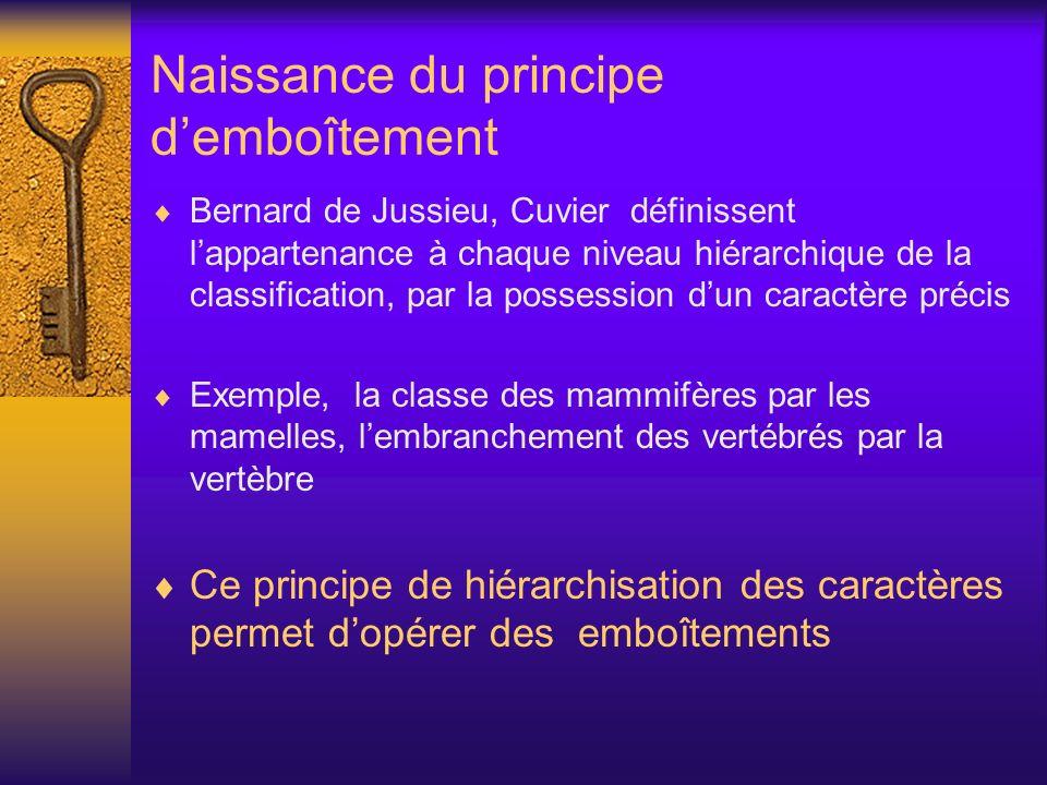 Naissance du principe demboîtement Bernard de Jussieu, Cuvier définissent lappartenance à chaque niveau hiérarchique de la classification, par la poss