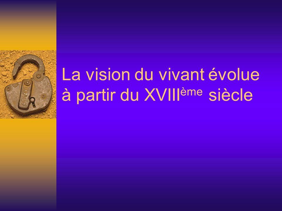 La vision du vivant évolue à partir du XVIII ème siècle
