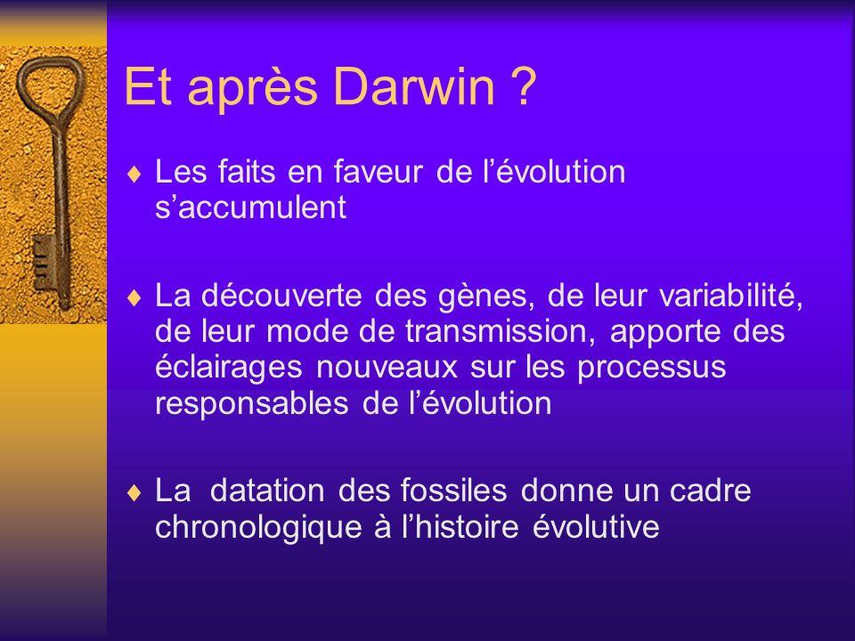 Et après Darwin ? Les faits en faveur de lévolution saccumulent La découverte des gènes, de leur variabilité, de leur mode de transmission, apporte de