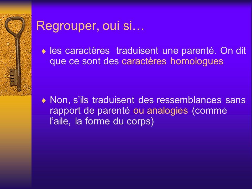 Regrouper, oui si… les caractères traduisent une parenté. On dit que ce sont des caractères homologues Non, sils traduisent des ressemblances sans rap