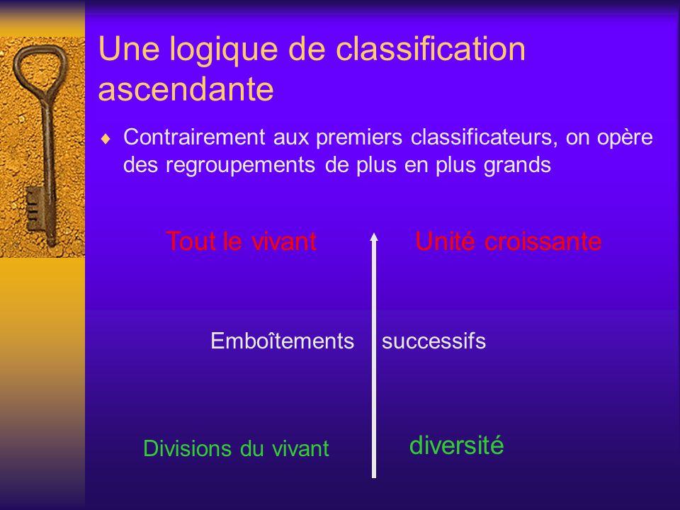 Une logique de classification ascendante Contrairement aux premiers classificateurs, on opère des regroupements de plus en plus grands Tout le vivant
