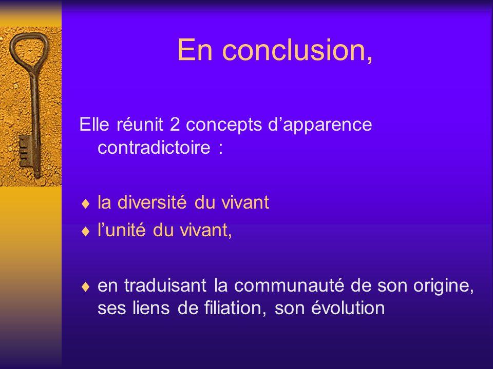 En conclusion, Elle réunit 2 concepts dapparence contradictoire : la diversité du vivant lunité du vivant, en traduisant la communauté de son origine,
