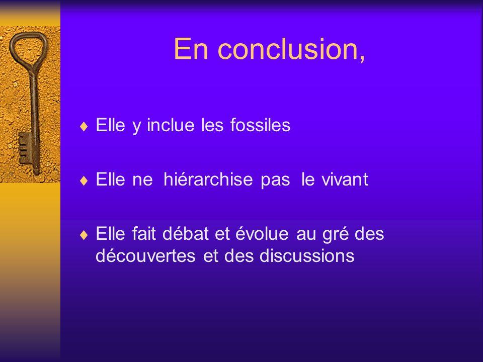 En conclusion, Elle y inclue les fossiles Elle ne hiérarchise pas le vivant Elle fait débat et évolue au gré des découvertes et des discussions
