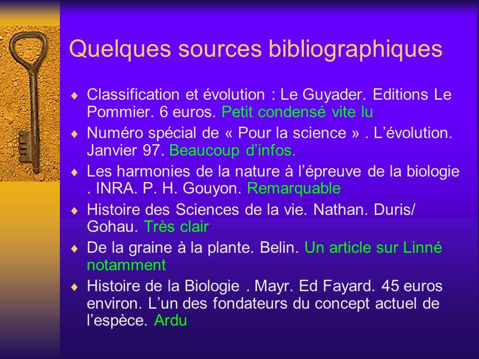 Quelques sources bibliographiques Classification et évolution : Le Guyader. Editions Le Pommier. 6 euros. Petit condensé vite lu Numéro spécial de « P