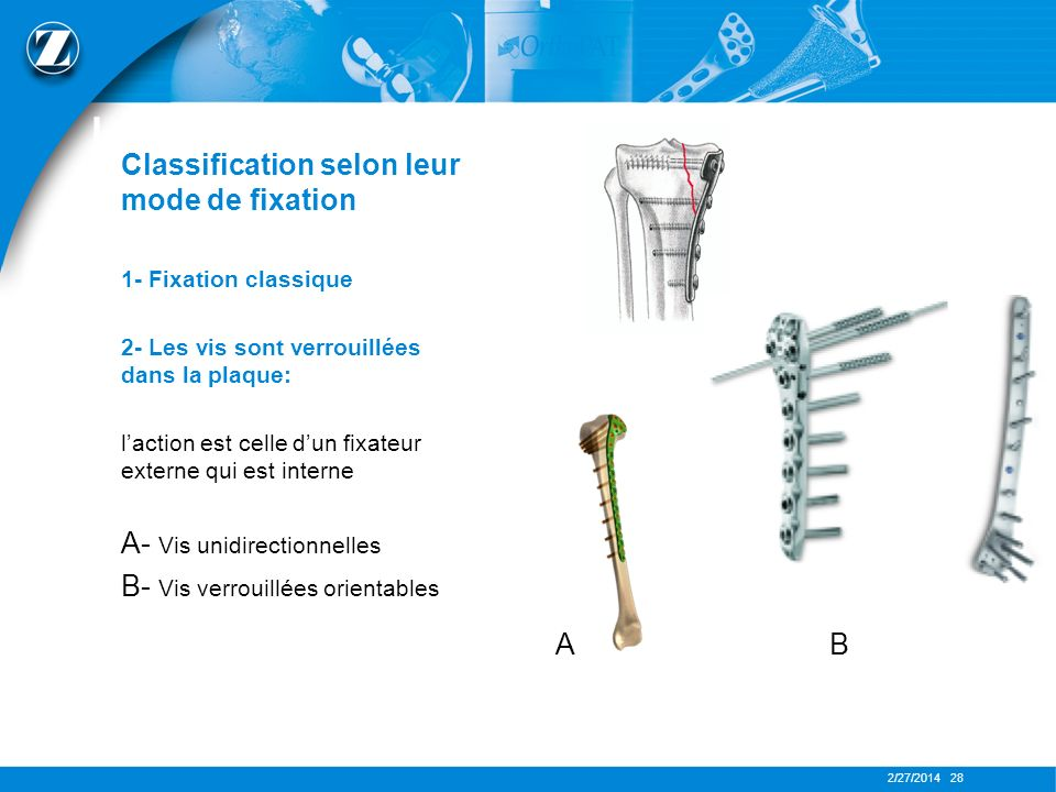 2/27/2014 28 LES PLAQUES Classification selon leur mode de fixation 1- Fixation classique 2- Les vis sont verrouillées dans la plaque: laction est cel