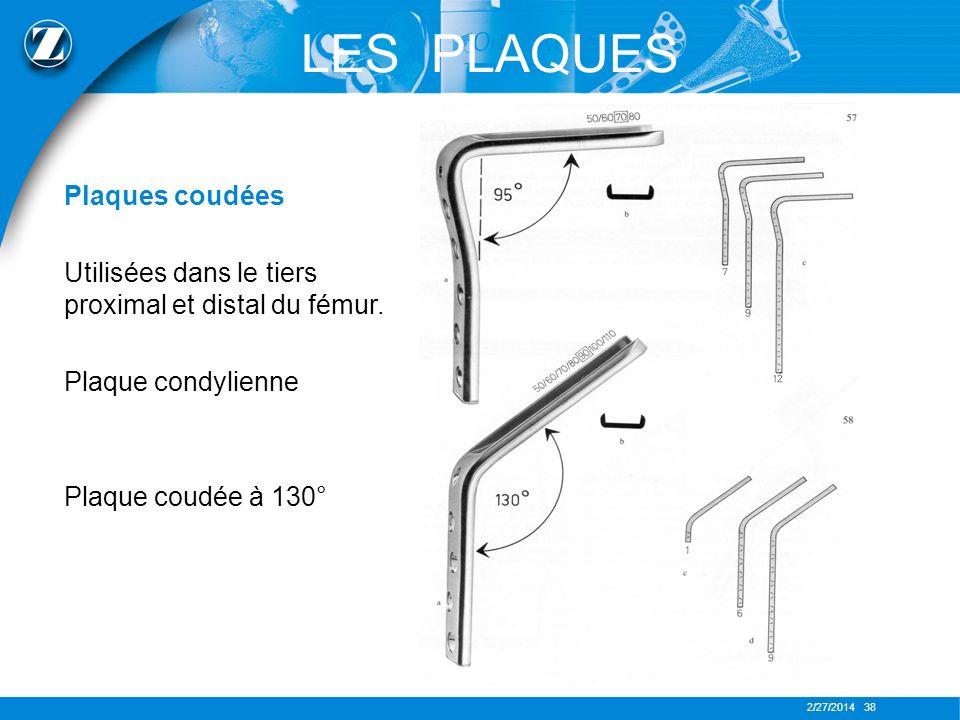 2/27/2014 38 LES PLAQUES Plaques coudées Utilisées dans le tiers proximal et distal du fémur. Plaque condylienne Plaque coudée à 130°