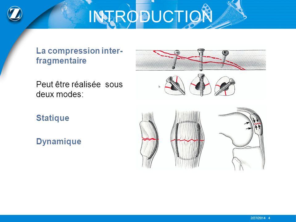 2/27/2014 4 La compression inter- fragmentaire Peut être réalisée sous deux modes: Statique Dynamique INTRODUCTION
