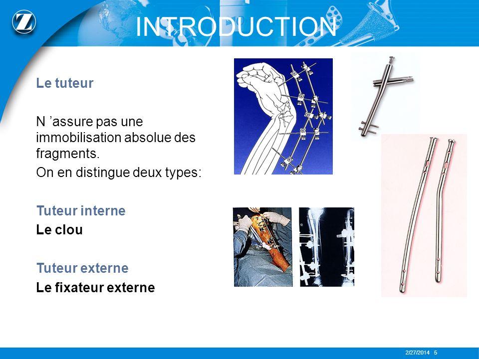2/27/2014 6 INTRODUCTION Les agents de l ostéosynthèse rigide
