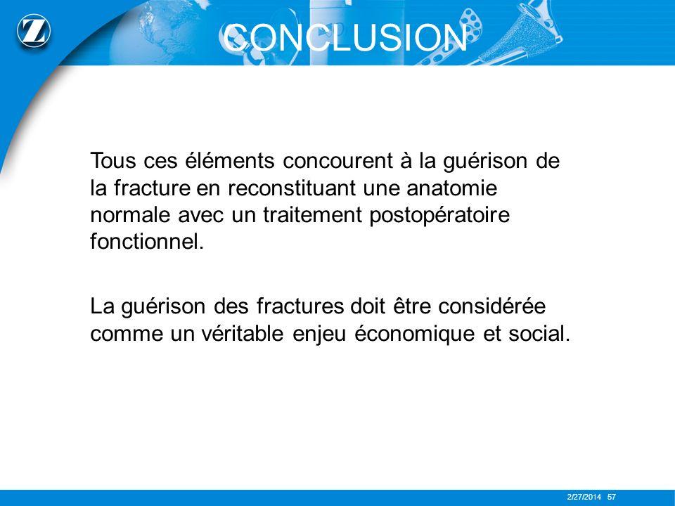 2/27/2014 57 CONCLUSION Tous ces éléments concourent à la guérison de la fracture en reconstituant une anatomie normale avec un traitement postopérato