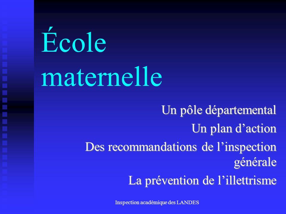 Inspection académique des LANDES École maternelle Un pôle départemental Un plan daction Des recommandations de linspection générale La prévention de l