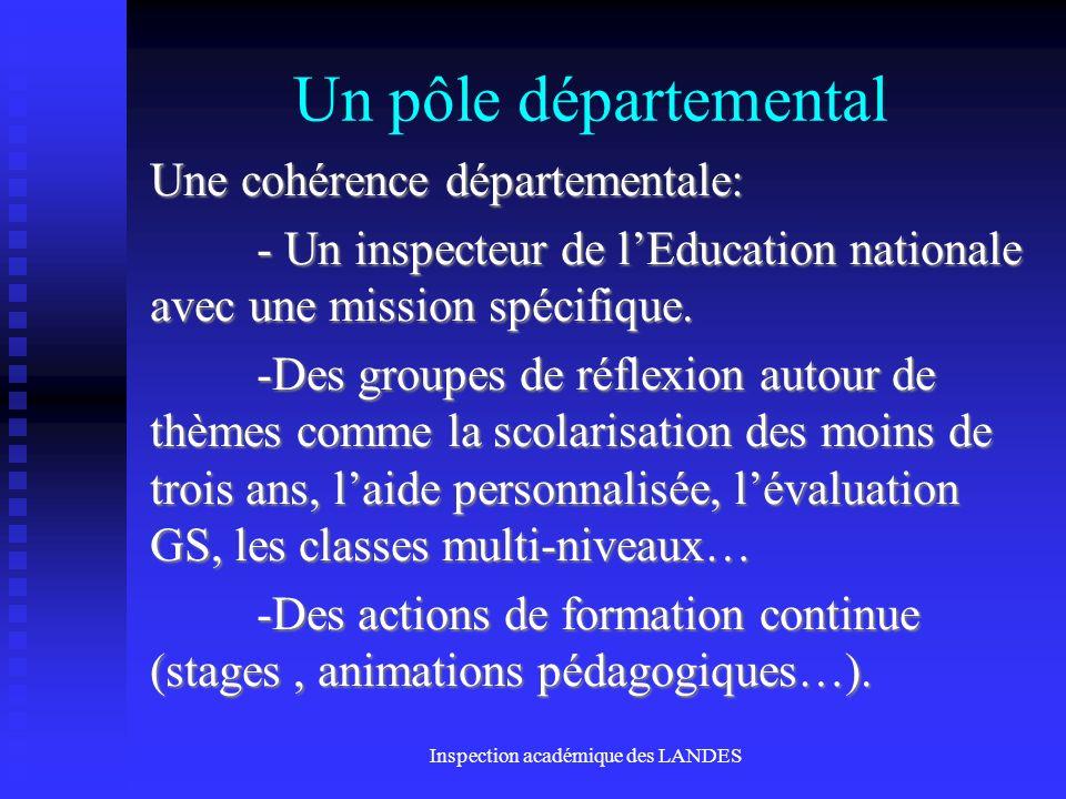 Inspection académique des LANDES Un pôle départemental Une cohérence départementale: - Un inspecteur de lEducation nationale avec une mission spécifiq