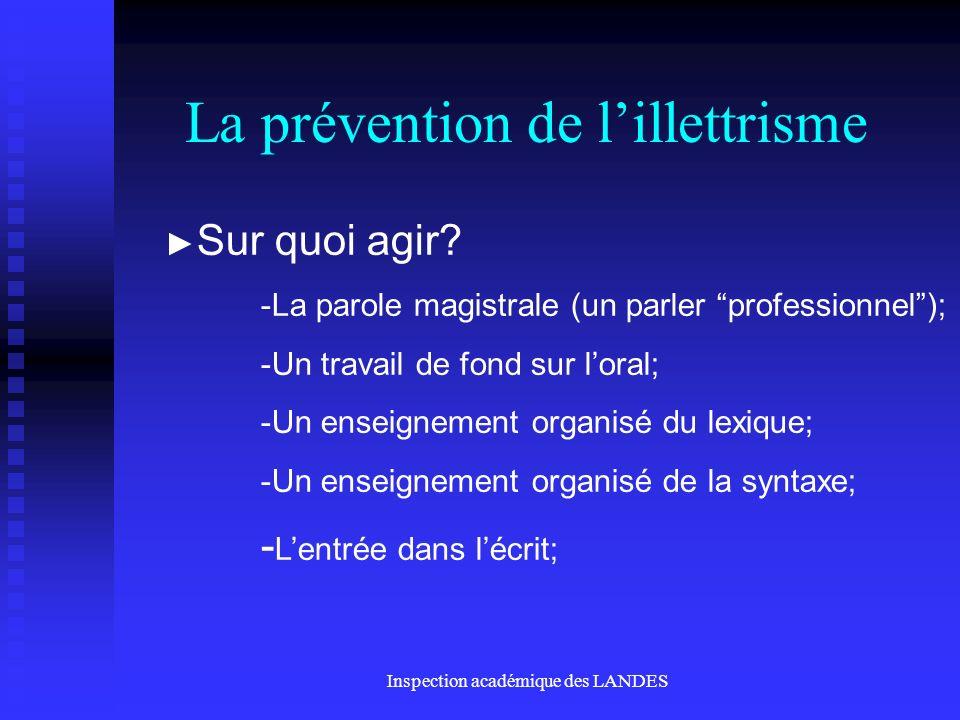 Inspection académique des LANDES La prévention de lillettrisme Sur quoi agir.