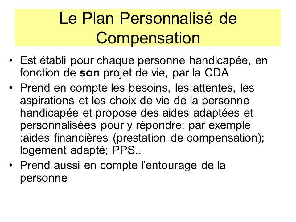 Le Plan Personnalisé de Compensation Est établi pour chaque personne handicapée, en fonction de son projet de vie, par la CDA Prend en compte les beso