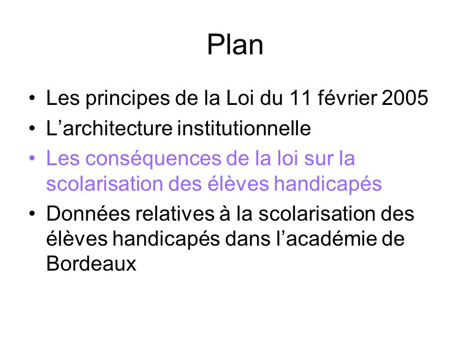 Plan Les principes de la Loi du 11 février 2005 Larchitecture institutionnelle Les conséquences de la loi sur la scolarisation des élèves handicapés D