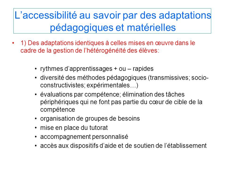 Laccessibilité au savoir par des adaptations pédagogiques et matérielles 1) Des adaptations identiques à celles mises en œuvre dans le cadre de la ges