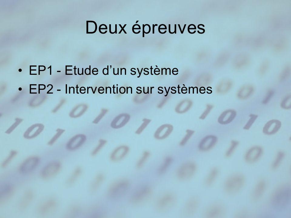 Deux épreuves EP1 - Etude dun système EP2 - Intervention sur systèmes