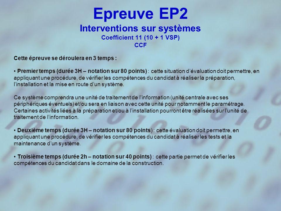Epreuve EP2 Interventions sur systèmes Coefficient 11 (10 + 1 VSP) CCF Première situation dévaluation - notée sur 80 points ; - durée recommandée : 3H ; - période : fin du premier trimestre de lannée civile de la session dexamen.
