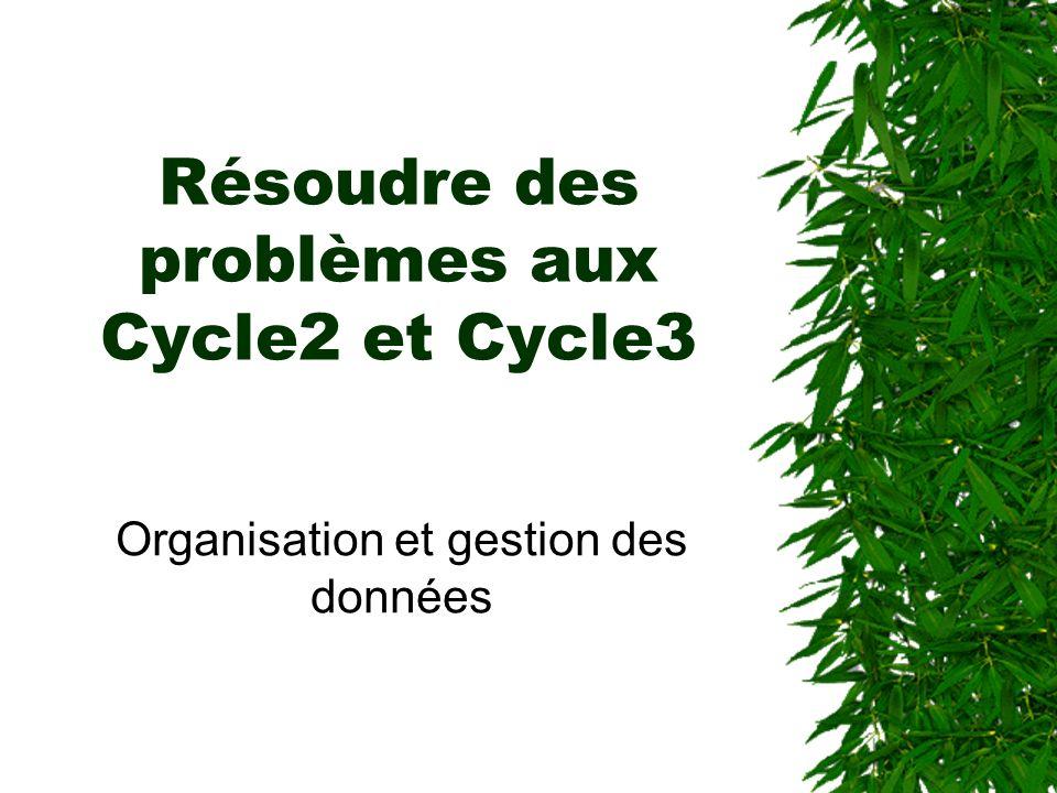 Résoudre des problèmes aux Cycle2 et Cycle3 Organisation et gestion des données