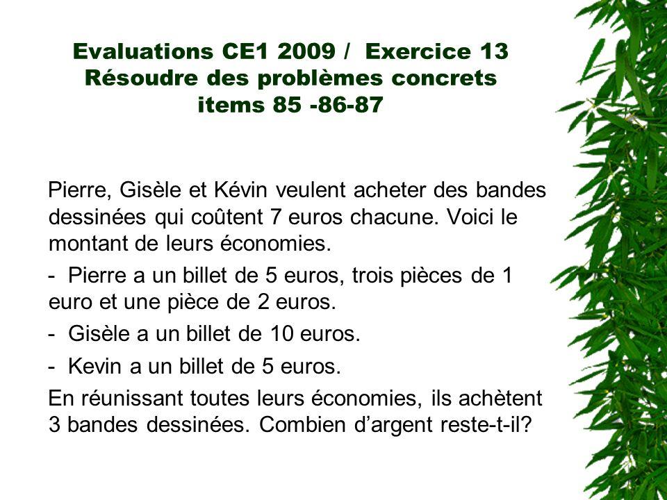 Evaluations CE1 2009 / Exercice 13 Résoudre des problèmes concrets items 85 -86-87 Pierre, Gisèle et Kévin veulent acheter des bandes dessinées qui co