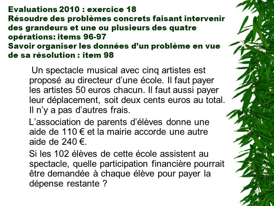 Evaluations 2010 : exercice 18 Résoudre des problèmes concrets faisant intervenir des grandeurs et une ou plusieurs des quatre opérations: items 96-97