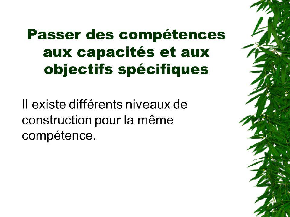 Passer des compétences aux capacités et aux objectifs spécifiques Il existe différents niveaux de construction pour la même compétence.