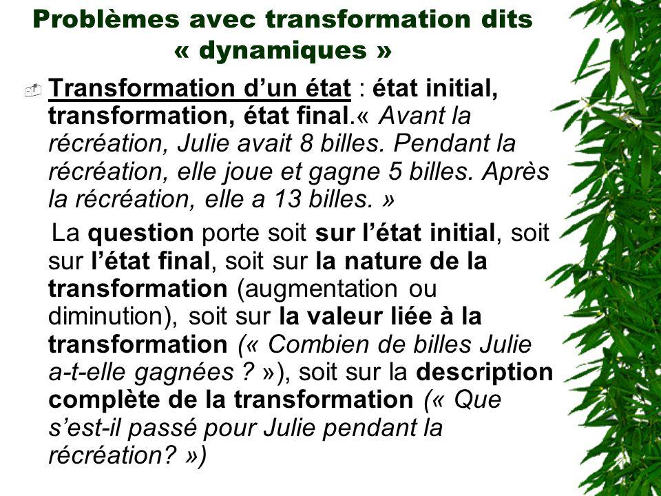 Problèmes avec transformation dits « dynamiques » Transformation dun état : état initial, transformation, état final.« Avant la récréation, Julie avai