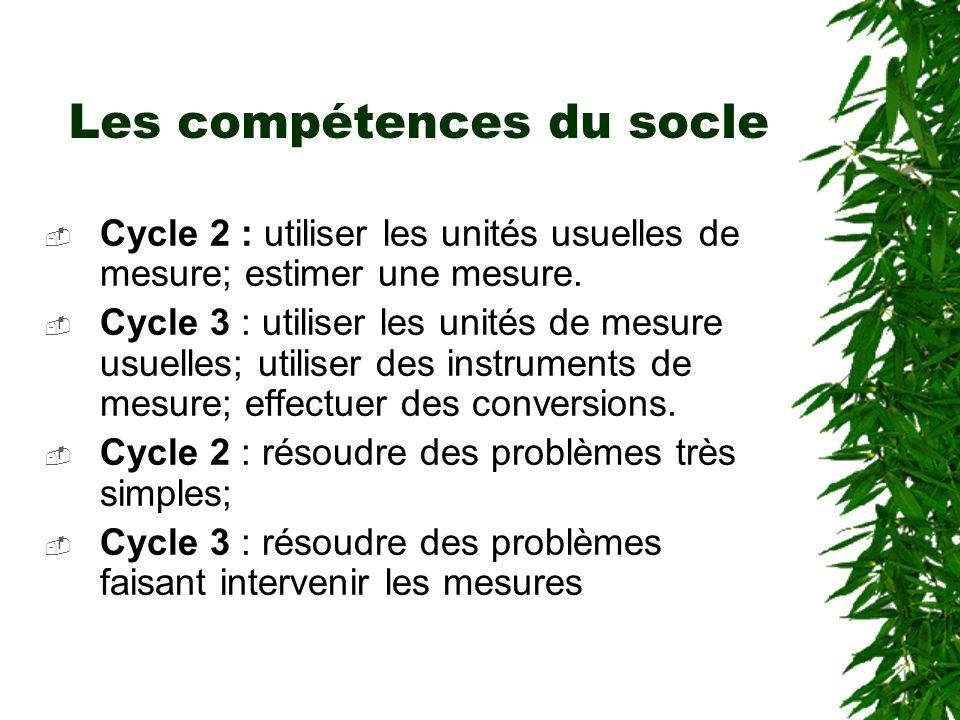 Les compétences du socle Cycle 2 : utiliser les unités usuelles de mesure; estimer une mesure. Cycle 3 : utiliser les unités de mesure usuelles; utili