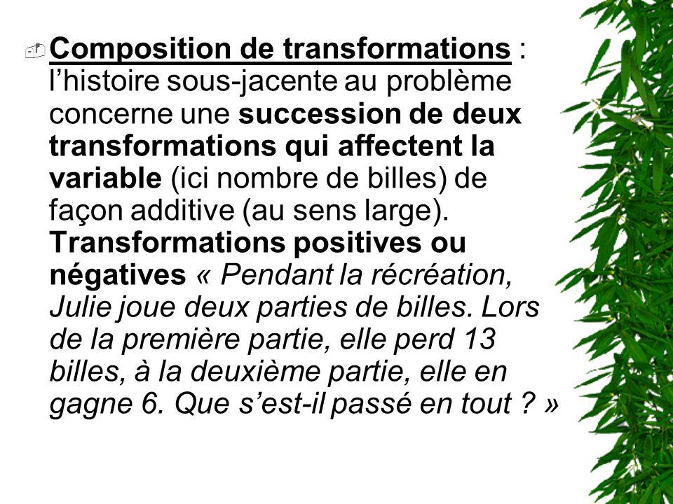 Composition de transformations : lhistoire sous-jacente au problème concerne une succession de deux transformations qui affectent la variable (ici nom