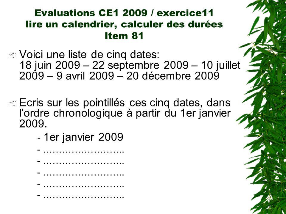 Evaluations CE1 2009 / exercice11 lire un calendrier, calculer des durées Item 81 Voici une liste de cinq dates: 18 juin 2009 – 22 septembre 2009 – 10