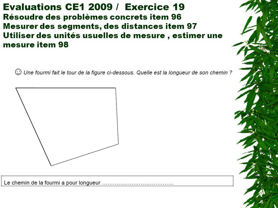 Evaluations CE1 2009 / Exercice 19 Résoudre des problèmes concrets item 96 Mesurer des segments, des distances item 97 Utiliser des unités usuelles de
