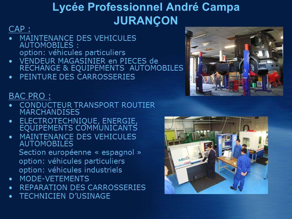 CAP : MAINTENANCE DES VEHICULES AUTOMOBILES : option: véhicules particuliers VENDEUR MAGASINIER en PIECES de RECHANGE & EQUIPEMENTS AUTOMOBILES PEINTURE DES CARROSSERIES BAC PRO : CONDUCTEUR TRANSPORT ROUTIER MARCHANDISES ELECTROTECHNIQUE, ENERGIE, EQUIPEMENTS COMMUNICANTS MAINTENANCE DES VEHICULES AUTOMOBILES Section européenne « espagnol » option: véhicules particuliers option: véhicules industriels MODE-VETEMENTS REPARATION DES CARROSSERIES TECHNICIEN DUSINAGE Lycée Professionnel André Campa JURANÇON