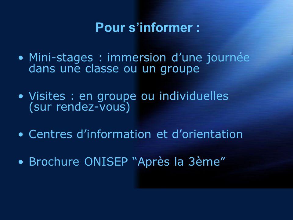Pour sinformer : Mini-stages : immersion dune journée dans une classe ou un groupe Visites : en groupe ou individuelles (sur rendez-vous) Centres dinformation et dorientation Brochure ONISEP Après la 3ème