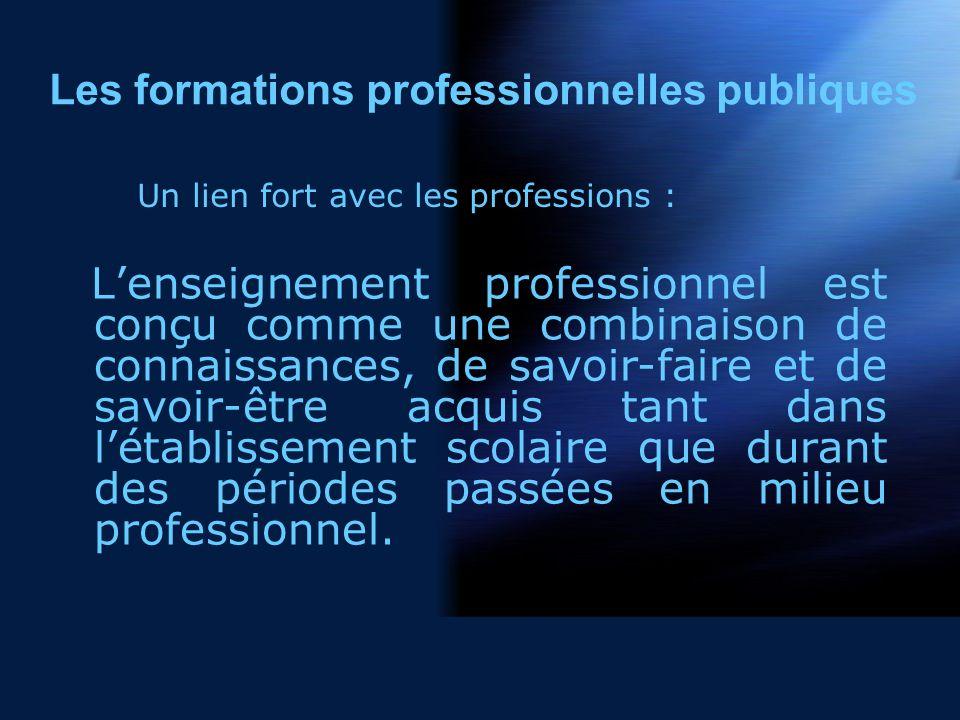 Lenseignement professionnel est conçu comme une combinaison de connaissances, de savoir-faire et de savoir-être acquis tant dans létablissement scolaire que durant des périodes passées en milieu professionnel.