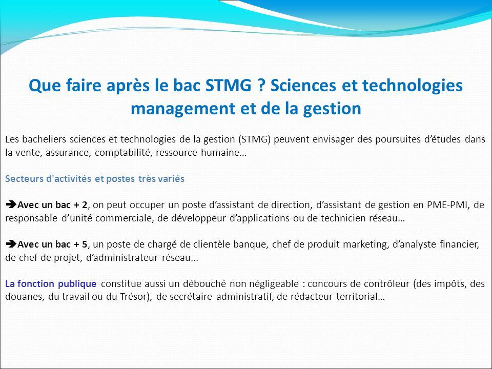 Que faire après le bac STMG ? Sciences et technologies management et de la gestion Les bacheliers sciences et technologies de la gestion (STMG) peuven