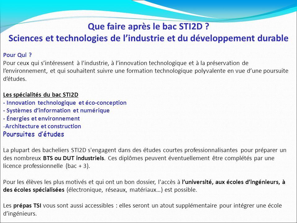 Que faire après le bac STI2D ? Sciences et technologies de lindustrie et du développement durable Pour Qui ? Pour ceux qui sintéressent à l'industrie,