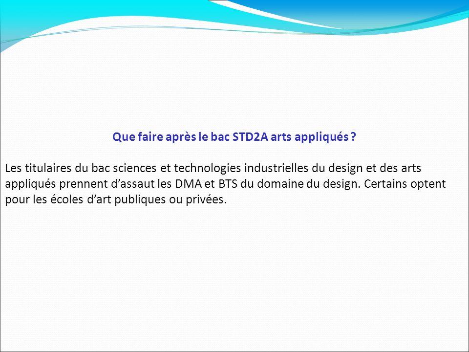 Que faire après le bac STD2A arts appliqués ? Les titulaires du bac sciences et technologies industrielles du design et des arts appliqués prennent da