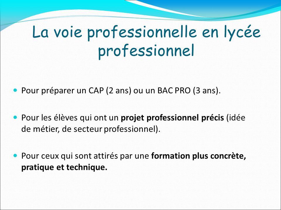 La voie professionnelle en lycée professionnel Pour préparer un CAP (2 ans) ou un BAC PRO (3 ans). Pour les élèves qui ont un projet professionnel pré