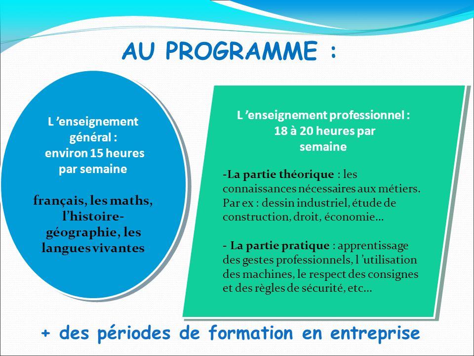 AU PROGRAMME : L enseignement général : environ 15 heures par semaine français, les maths, lhistoire- géographie, les langues vivantes L enseignement