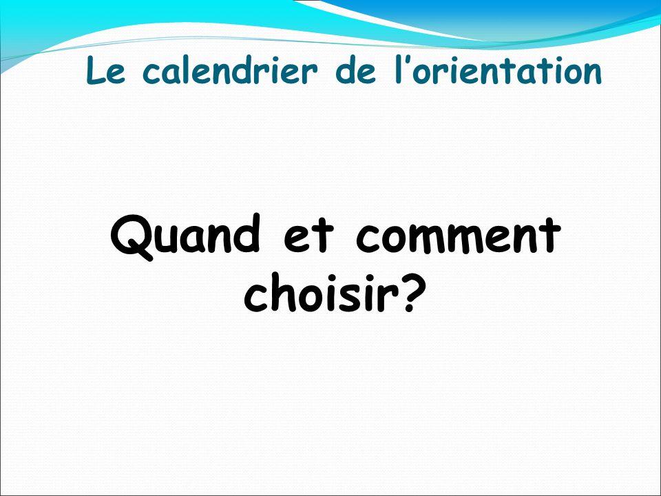 Le calendrier de lorientation Quand et comment choisir?