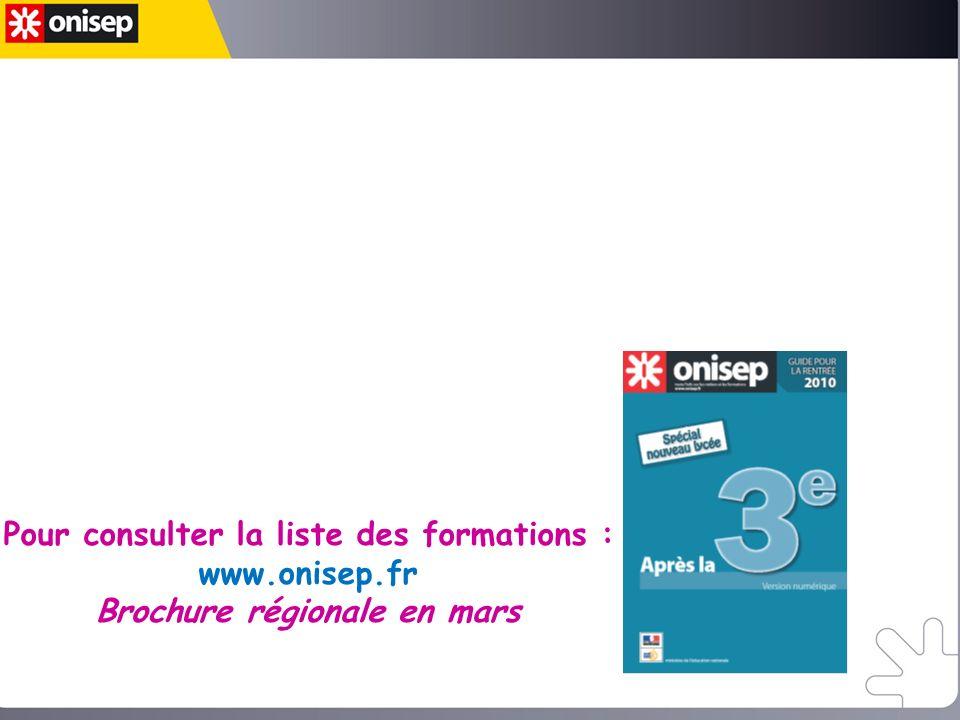 Jenvisage la préparation dun bac Pro en 3 ans, je dois choisir : la seconde professionnelle en précisant le Bac Pro visé Pour consulter la liste des formations : www.onisep.fr Brochure régionale en mars