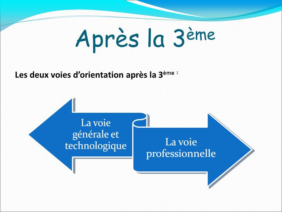 Après la 3 ème Les deux voies dorientation après la 3 ème :