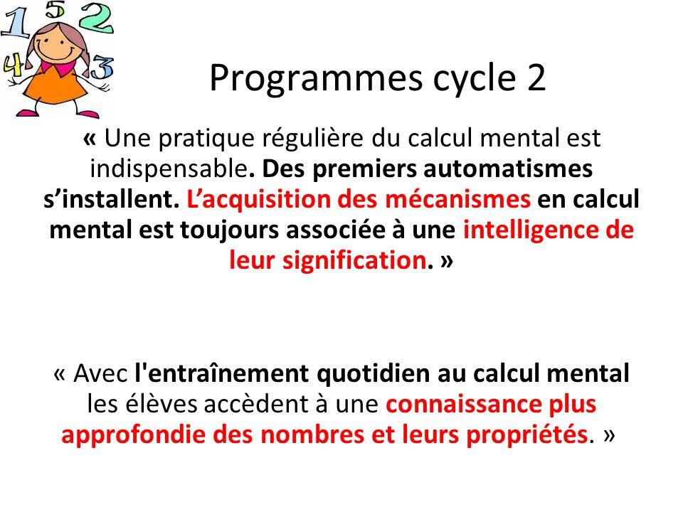 Programmes cycle 2 « Une pratique régulière du calcul mental est indispensable. Des premiers automatismes sinstallent. Lacquisition des mécanismes en