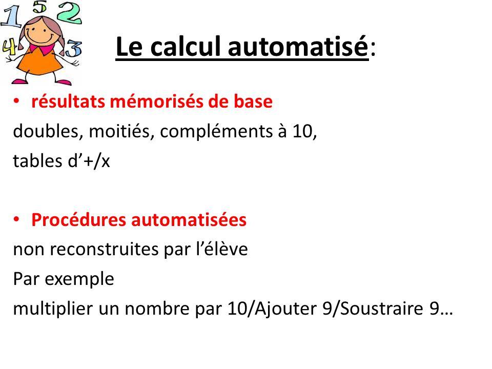 Le calcul automatisé: résultats mémorisés de base doubles, moitiés, compléments à 10, tables d+/x Procédures automatisées non reconstruites par lélève