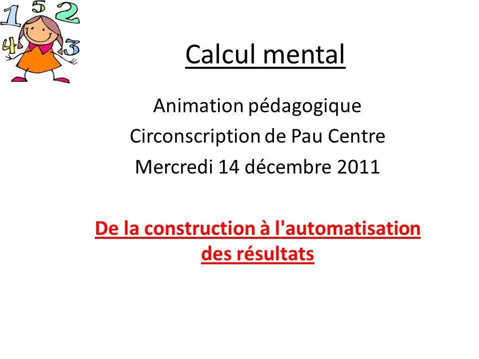 Calcul mental Animation pédagogique Circonscription de Pau Centre Mercredi 14 décembre 2011 De la construction à l'automatisation des résultats