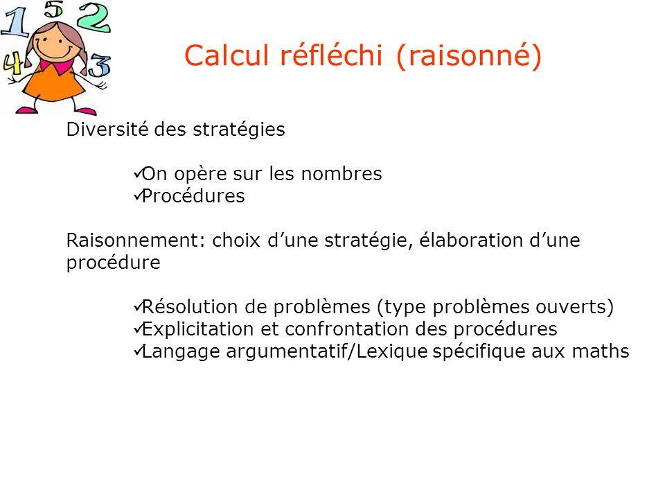 Diversité des stratégies On opère sur les nombres Procédures Raisonnement: choix dune stratégie, élaboration dune procédure Résolution de problèmes (t