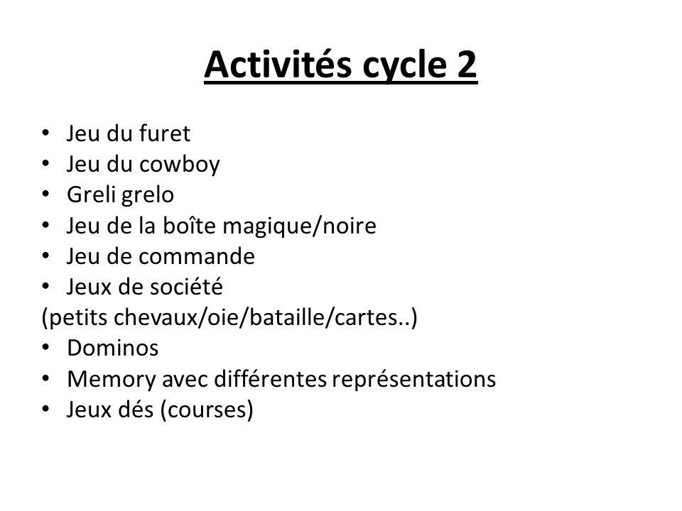 Activités cycle 2 Jeu du furet Jeu du cowboy Greli grelo Jeu de la boîte magique/noire Jeu de commande Jeux de société (petits chevaux/oie/bataille/ca