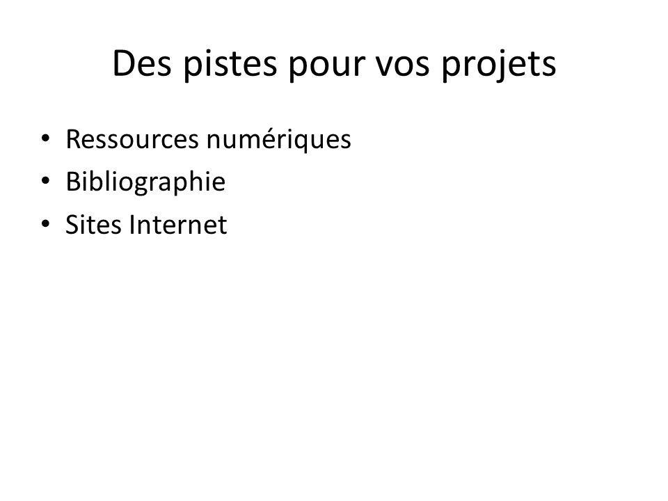 Des pistes pour vos projets Ressources numériques Bibliographie Sites Internet
