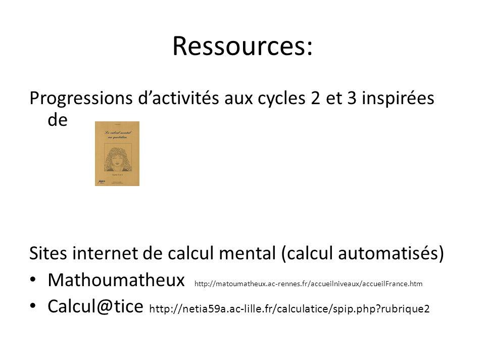 Ressources: Progressions dactivités aux cycles 2 et 3 inspirées de Sites internet de calcul mental (calcul automatisés) Mathoumatheux http://matoumath