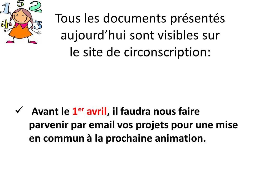 Tous les documents présentés aujourdhui sont visibles sur le site de circonscription: Avant le 1 er avril, il faudra nous faire parvenir par email vos