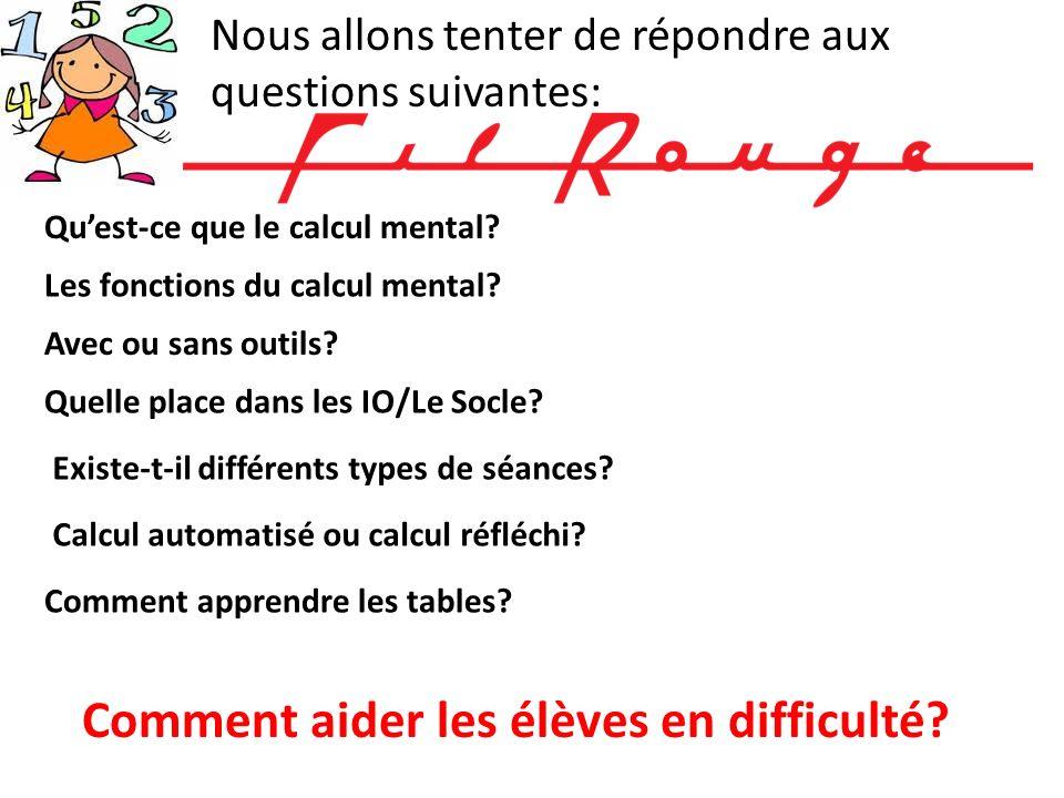 Nous allons tenter de répondre aux questions suivantes: Quest-ce que le calcul mental? Les fonctions du calcul mental? Comment aider les élèves en dif